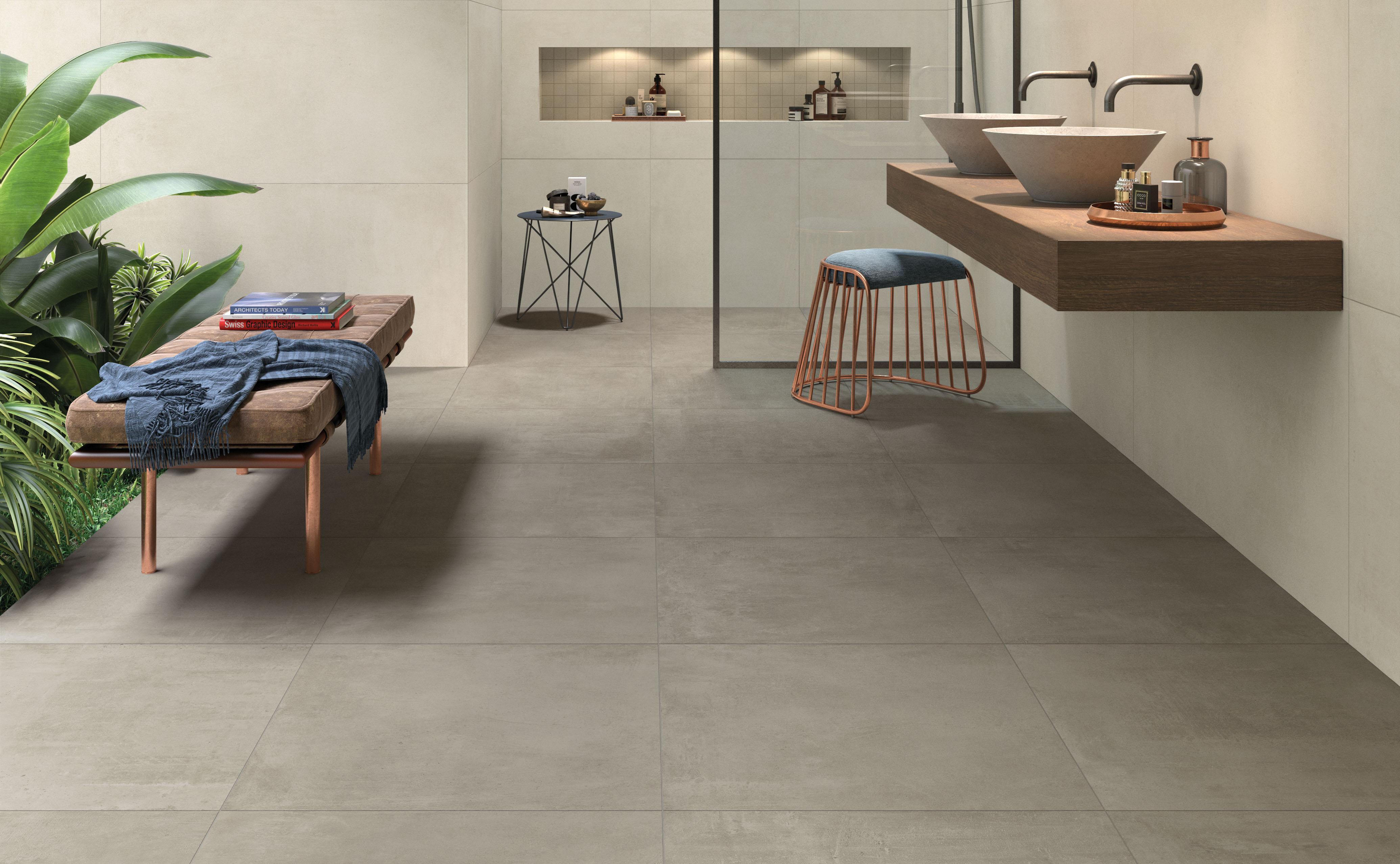 Grey Betonfliesen im Bad, grey concrete effect tiles in the bathroom