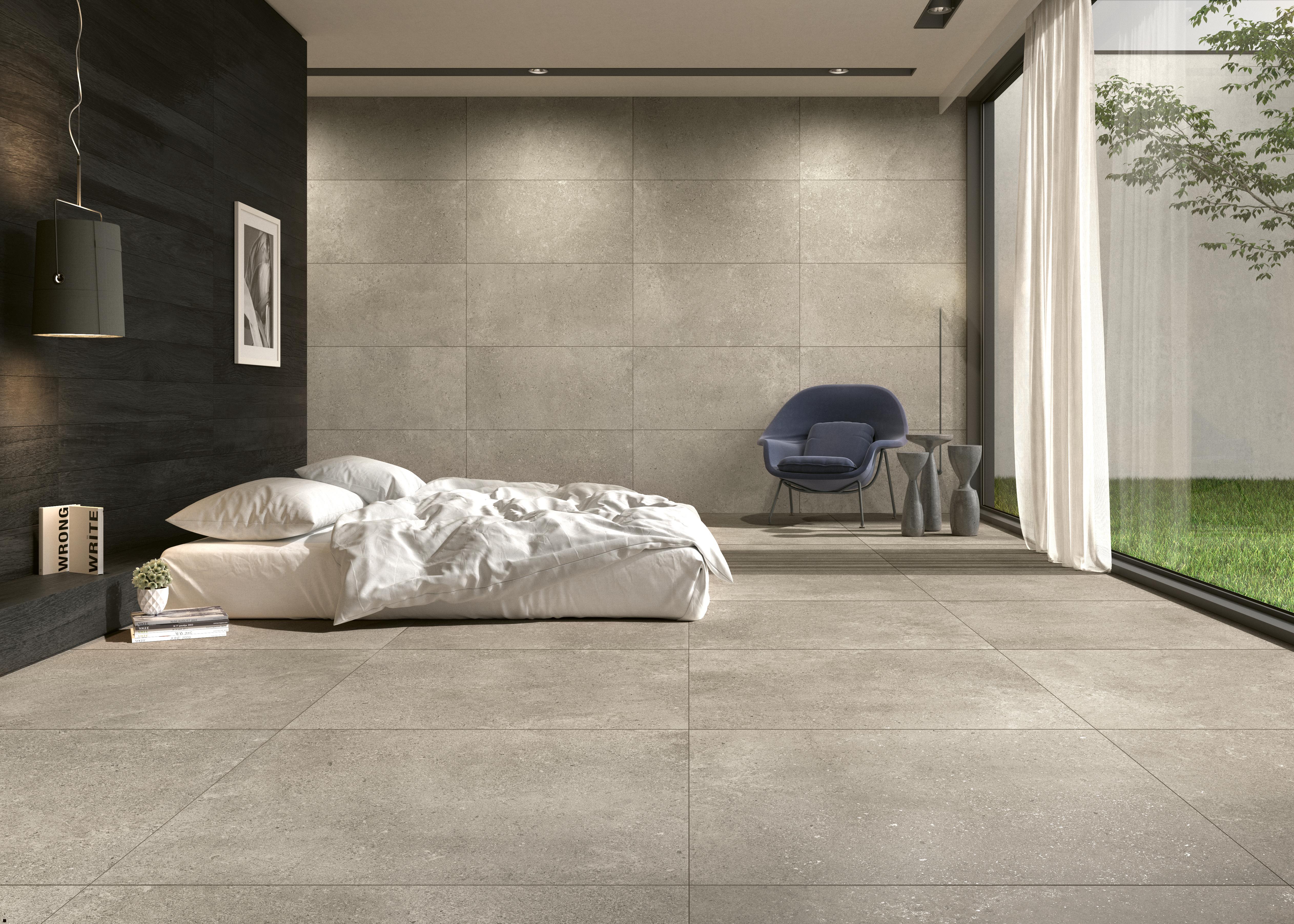 beige Steinoptik Fliesen im Schalafzimmer , beige stone effect tiles in the bedroom