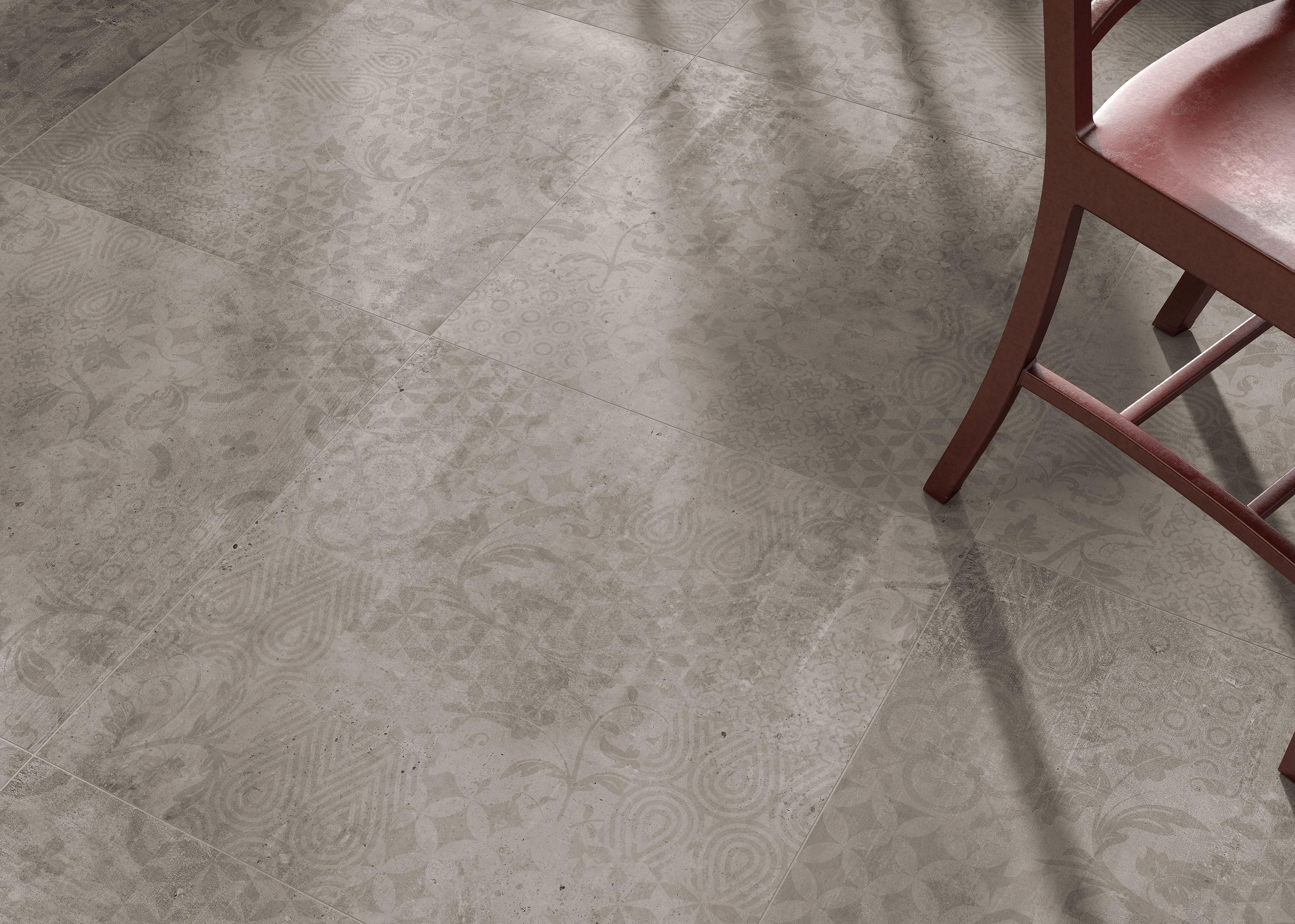 Grey Decor Betonfliesen auf dem Boden, grey decor concrete effect tiles  on the floor