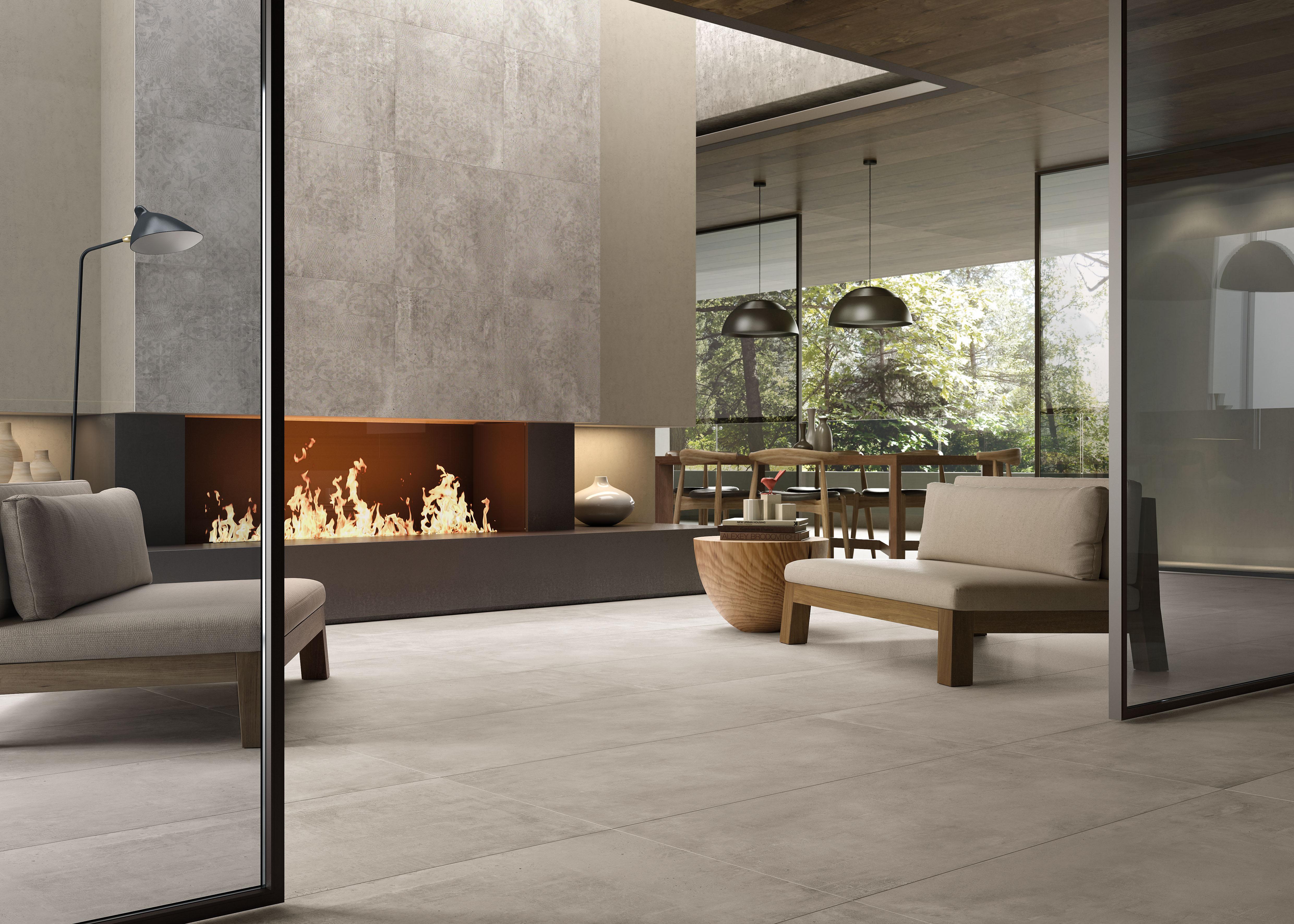 Ivory Betonfliesen im Wohnzimmer, ivory concrete effect tiles in living room
