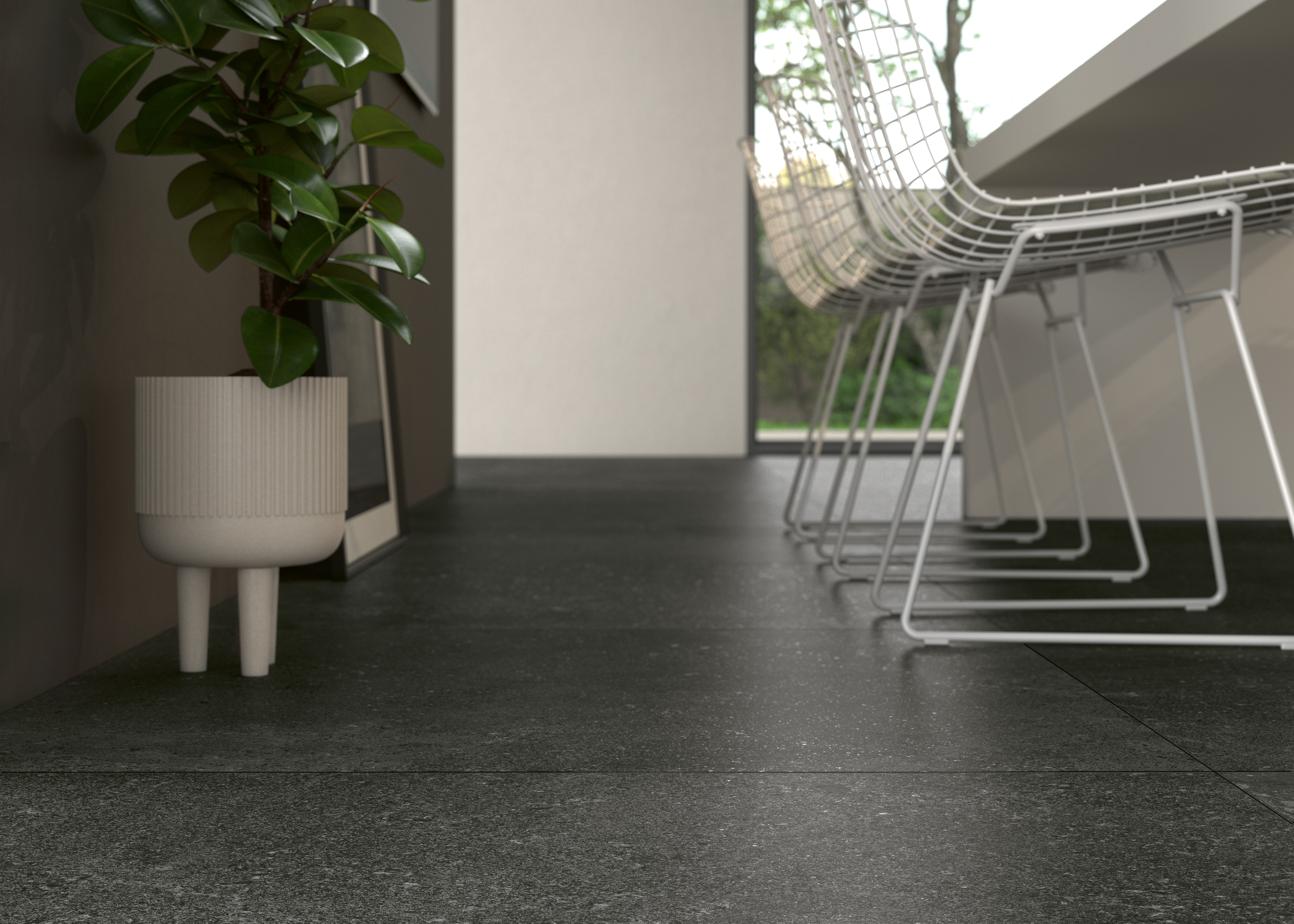 Küche mit dunkel braun Steinoptik Fliesen,  Kitchen with stone effect tile dark grey