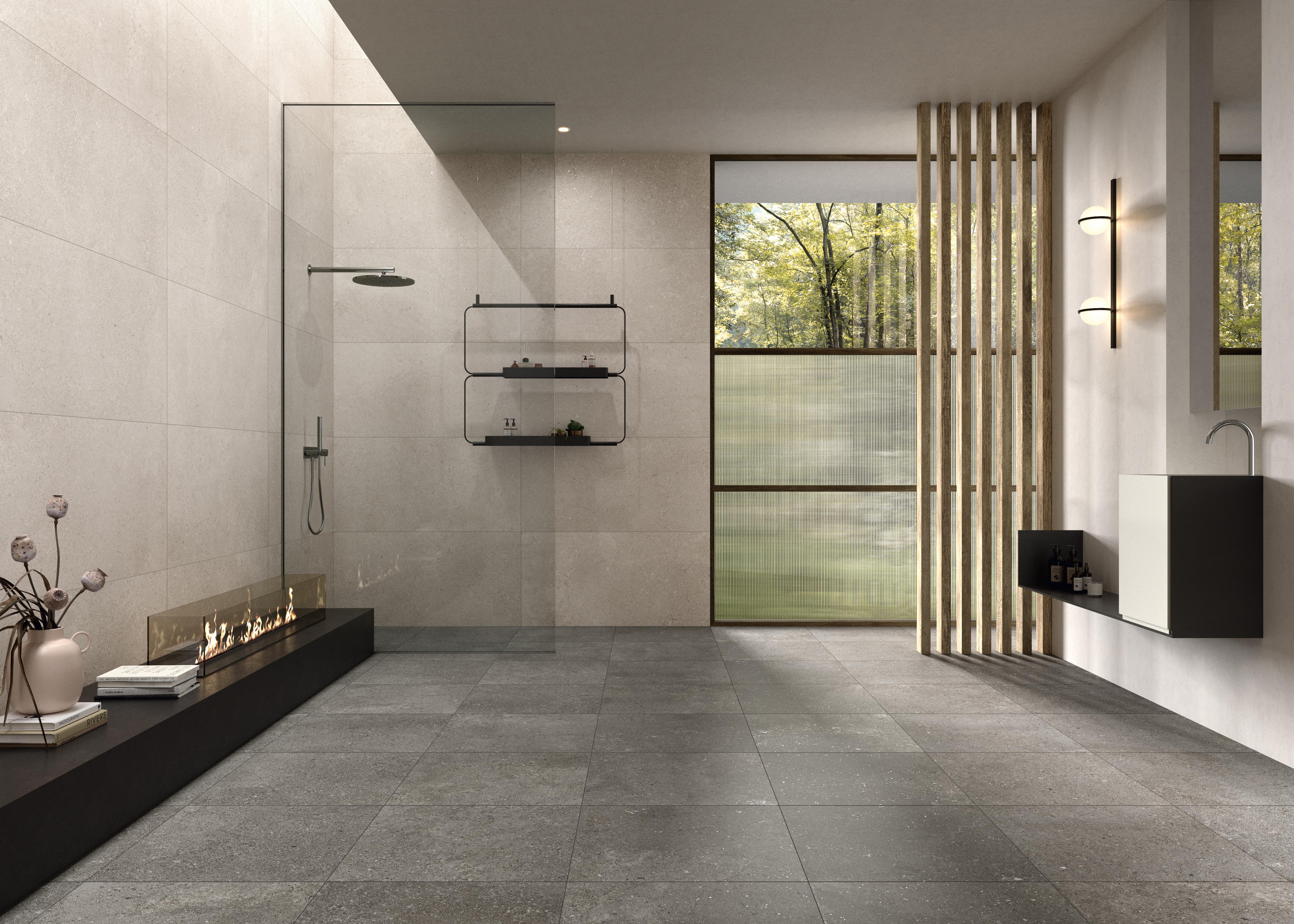 weiße Steinoptik Fliesen im Bad, white stone effect tiles in the bathroom